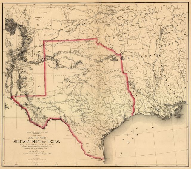 Map of the military dep't of Texas : being a section of the map of the territory of the U.S. from the Mississippi River to the Pacific Ocean /
