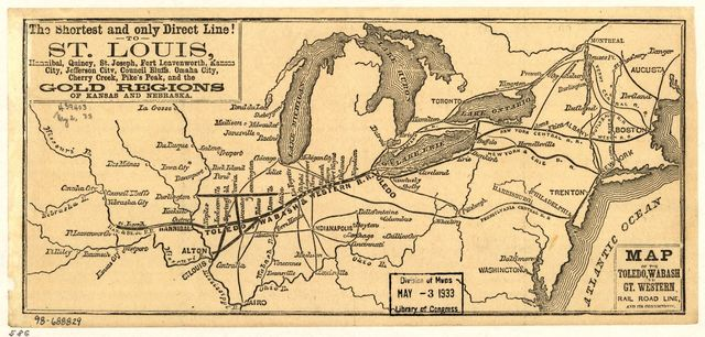 Map of the Toledo, Wabash, and Gt. Western Rail Road Line, and its connections.