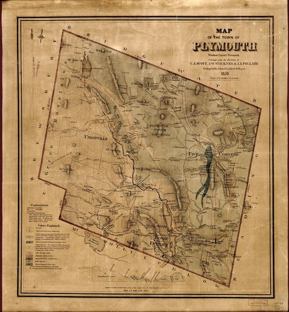 Map of the town of Plymouth, Windsor County, Vermont.