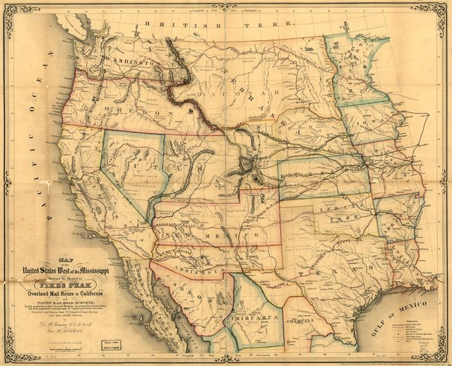 Map of the United States west of the Mississippi showing the routes to Pike's Peak, overland mail route to California and Pacific rail road surveys. To which are added the new state & territorial boundaires, the principal mail & rail road routes with all the arrangements & corrections made by Congress up to the date of its issue.
