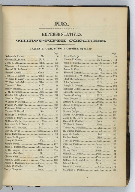 McClees' gallery of photographic portraits of the senators, representatives & delegates of the thirty-fifth Congress.