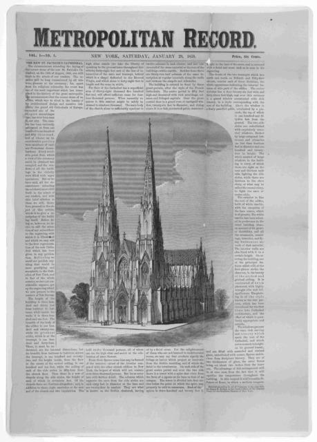 Metropolitan record. Vol. 1 No. 1. January 29, 1859. New York.