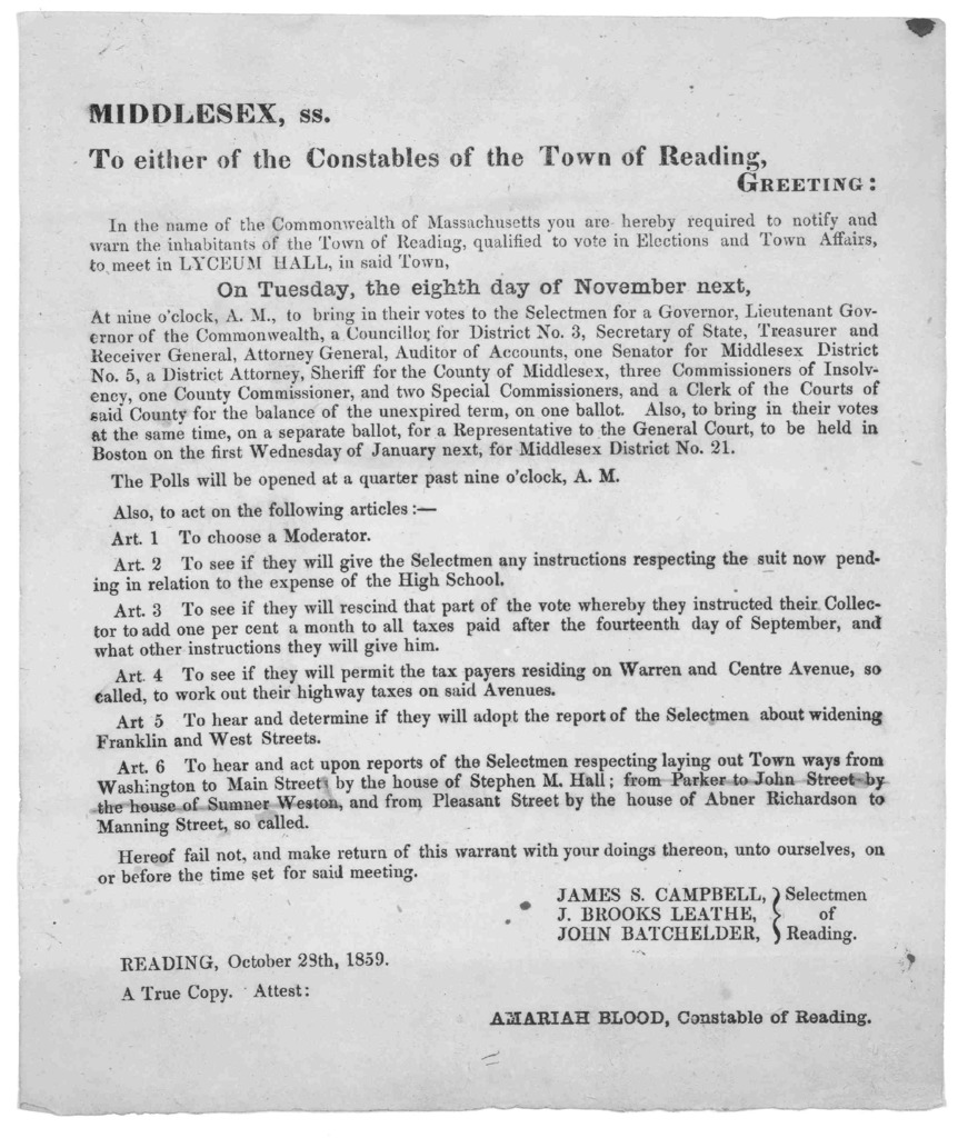 Middlesex, ss. To either of the Constables of the Town of Reading, Greeting: In the name of the Commonwealth of Massachusetts you are hereby required to notify and warn the inhabitants of the Town of Reading, qualified to vote in elections and t