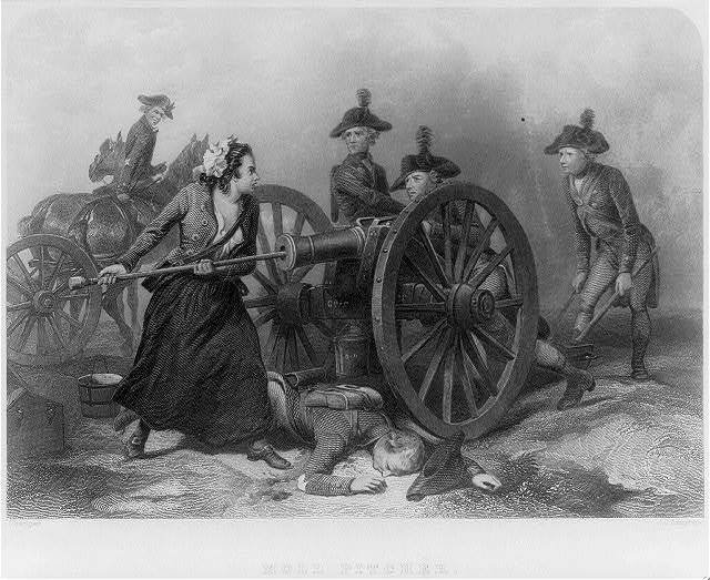 Molly Pitcher [i.e. Molly McCauley loading cannon at Battle of Monmouth, 1778]