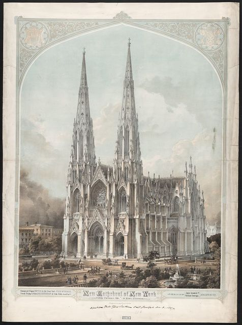 New Cathedral of New York, Fifth Avenue, 50th & 51st Streets, commenced August 15, 1858, by the Most Revd. John Hughes, fourth Bishop & first Archbishop of New York, James Renwick Jr., William Rodrigue, Architects / A. Weingärtner's Lithography, 87 Fulton St., New York.