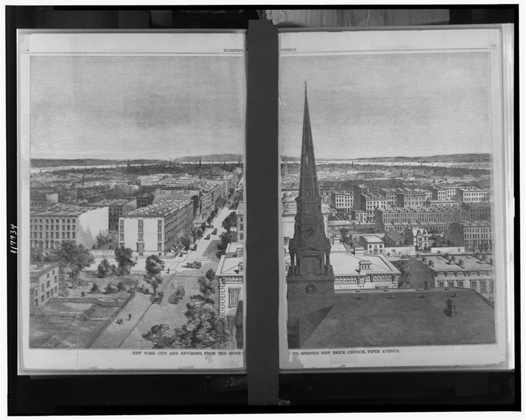 New York City and environs, from the spire of Dr. Spring's new brick church, Fifth Avenue / Hitchcock del. ; Anthony sc.
