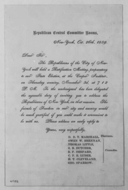 New York Republican Central Committee to Abraham Lincoln, Wednesday, October 26, 1859  (Printed invitation)