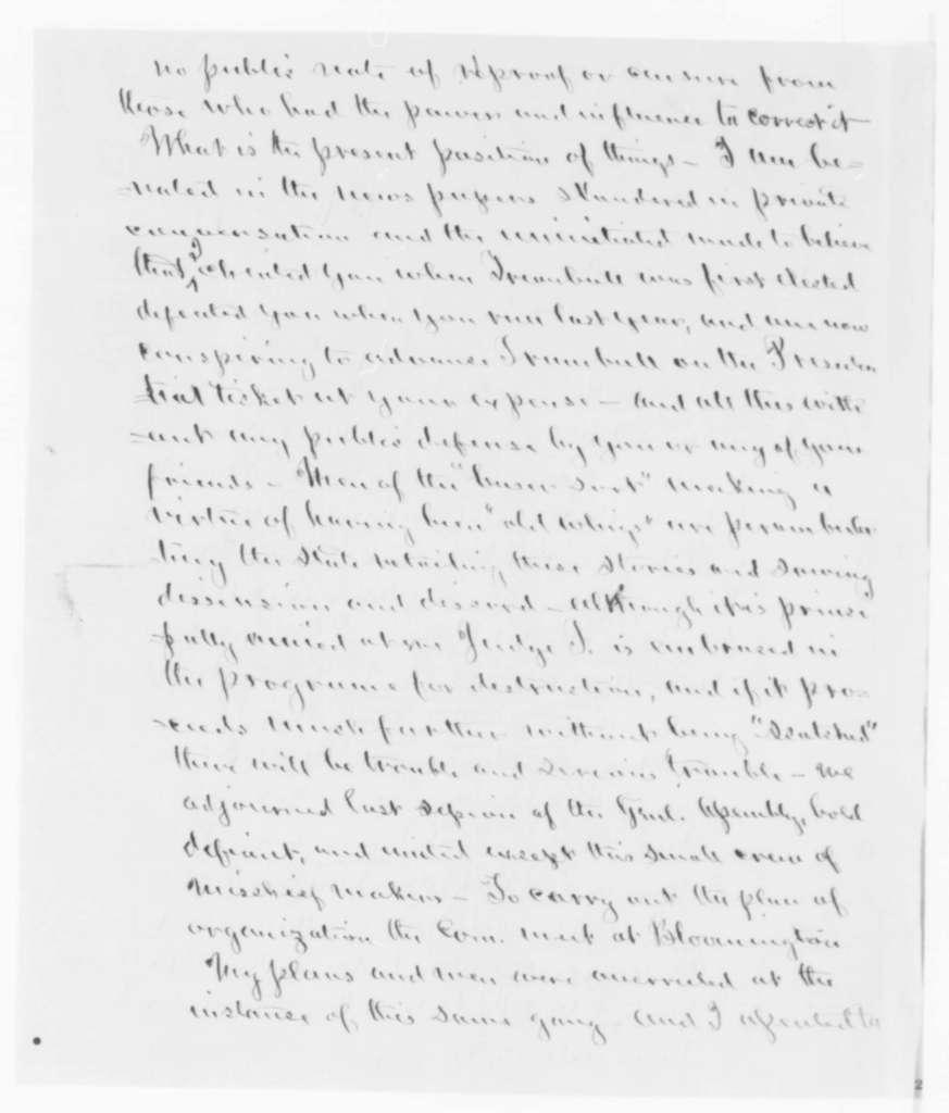 Norman B. Judd to Abraham Lincoln, Thursday, December 01, 1859