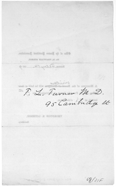 Office of the Boston provident association, No. 10, Franklyn Street, Boston, [blank], 185[blank]. A meeting of the board of managers…Thornton K. Lothrop, secretary. [1859]