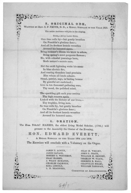 Order of exercises at the CLIII anniversary of the birthday of Franklin, by the Association of Franklin medal scholars, at the music hall, Monday evening, 17th January, 1859.