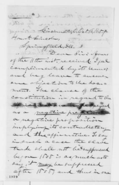 P. Wyckoff to Abraham Lincoln, Tuesday, October 18, 1859  (Constitutional interpretation)
