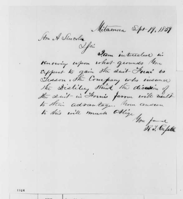 R. T. Cassell to Abraham Lincoln, Monday, September 19, 1859  (Legal matters)