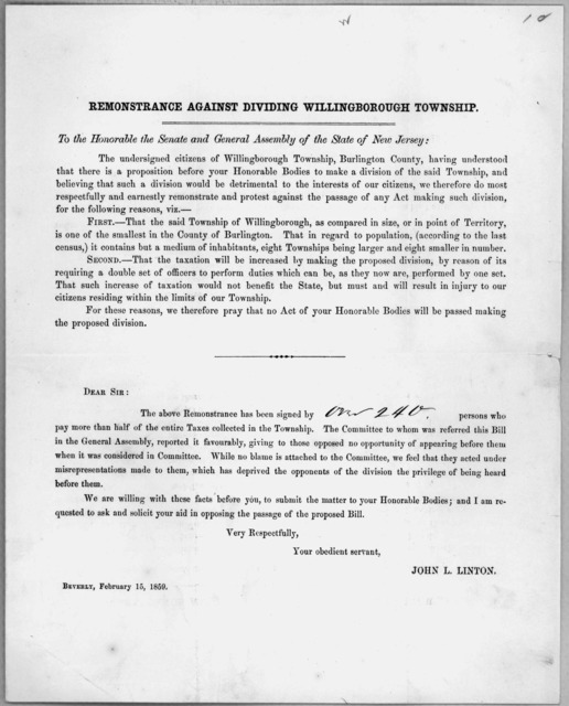 Remonstrance against dividing Willingborough township. To the honorable the Senate and General Assembly of the State of New Jersey ... Beverly, February 15, 1859.