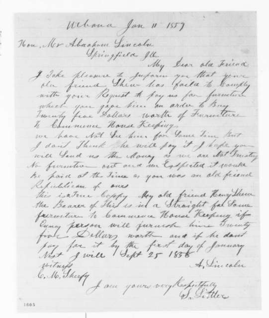 S. Littler to Abraham Lincoln, Tuesday, January 11, 1859  (Bill)