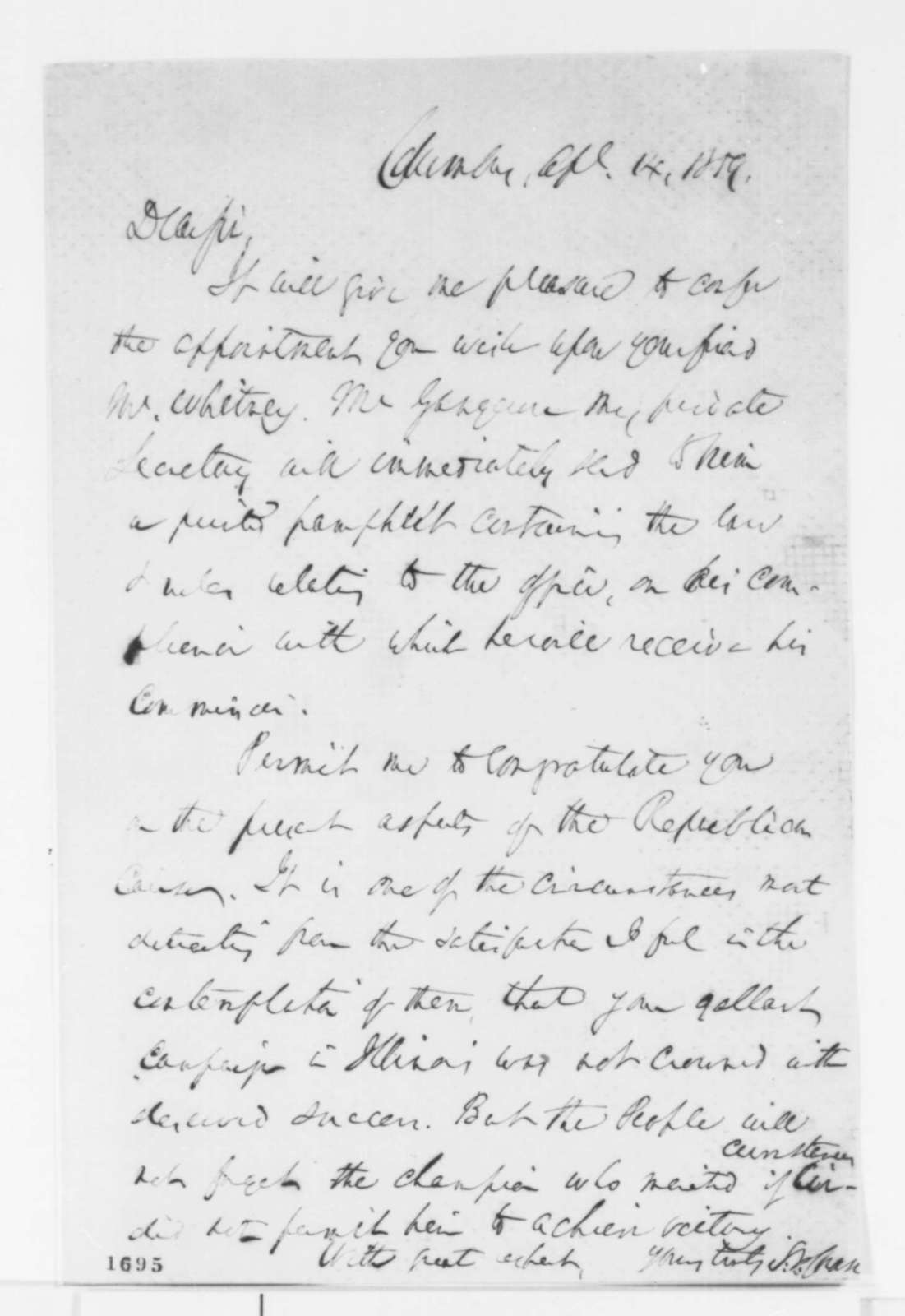 Salmon P. Chase to Abraham Lincoln, Thursday, April 14, 1859