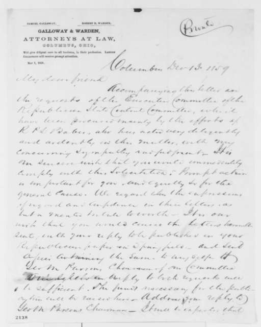 Samuel Galloway to Abraham Lincoln, Tuesday, December 13, 1859  (Requests speeches)