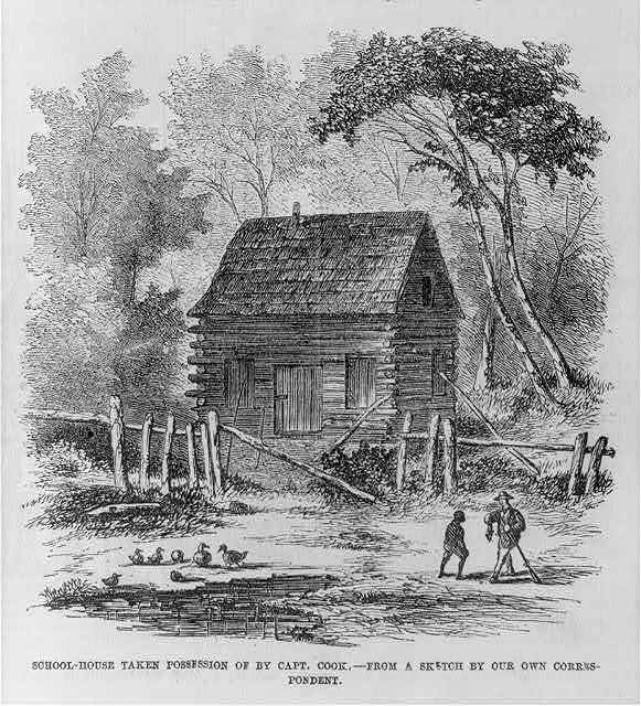 Schoolhouse taken possession by Capt. Cook