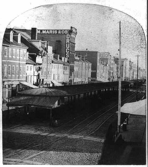 Stereoscopic view of Market Street, including a view of the market houses from 8th to Front St.