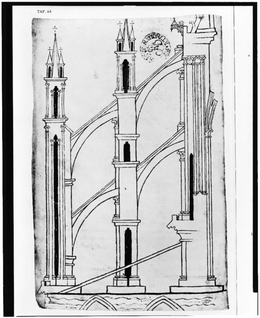 [System of buttresses at the Reims cathedral]