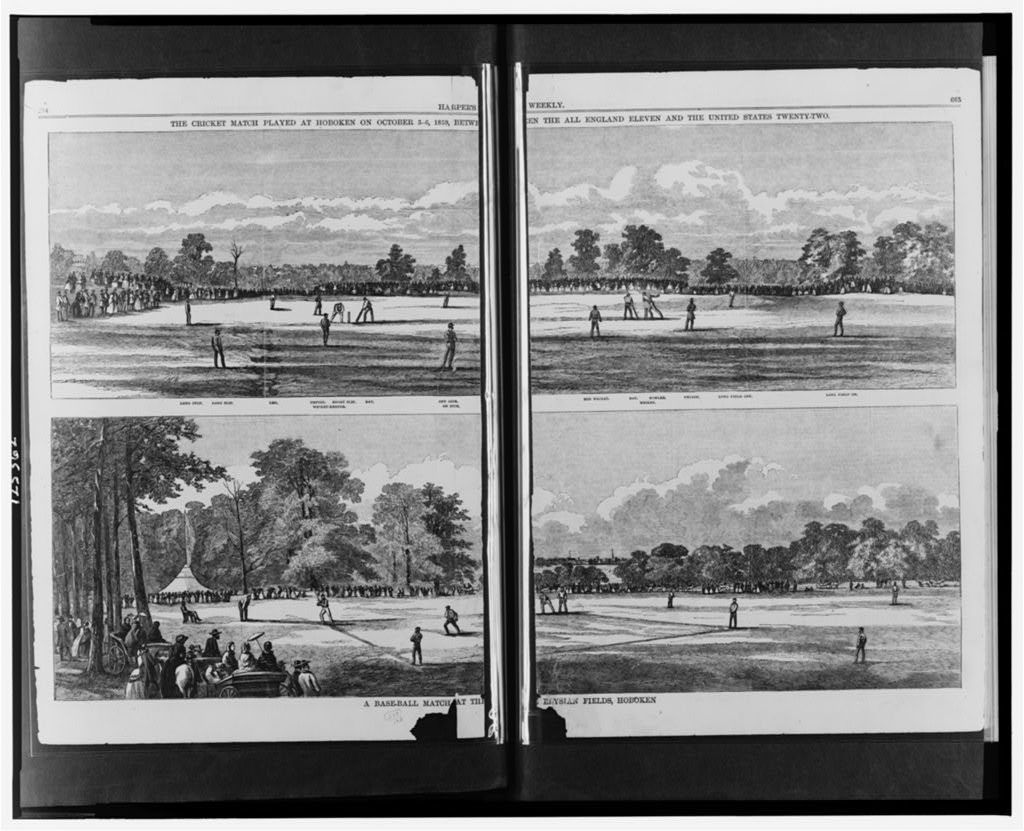 The cricket match played at Hoboken on October 3-6, 1859, between the All England Eleven and the United States Twenty-Two A baseball match at the Elysian Fields, Hoboken.