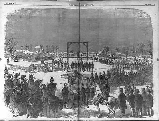 The Execution of Cook and Coppock ... [Charlestown, W. Va., Dec. 17, 1859; panoramic view of soldiers surrounding gallows from which 2 of the Harper's Ferry Raiders are hanging]