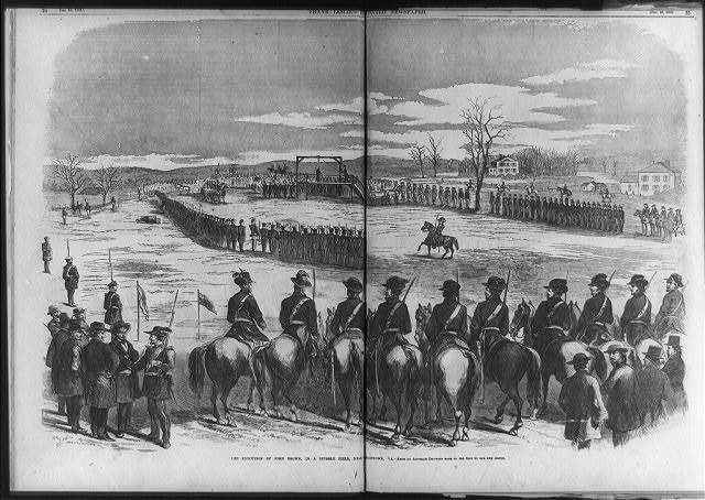The execution of John Brown, in a stubble field, near Charleston, [W.] Va. [men on horseback in foregrd.]