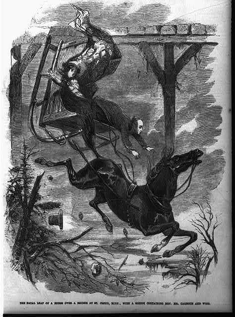 The fatal leap of a horse over a bridge at St. Cloud, Minn., with a sleigh containing Rev. Mr. Calhoun and wife
