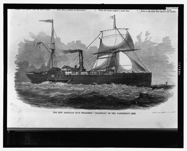 "The new American iron steamship ""Champion,"" of the Vanderbilt line"