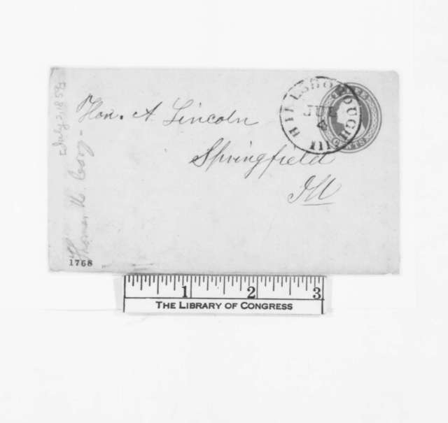 Thomas H. Cory to Abraham Lincoln, Saturday, July 02, 1859  (Request for political favor)