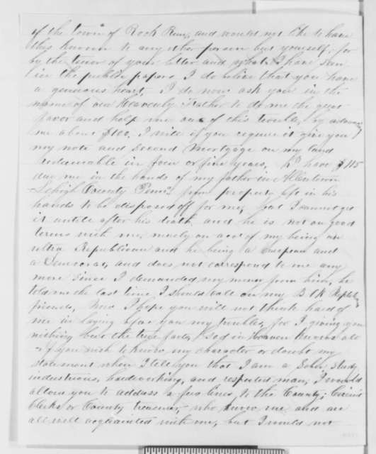 Thomas L. Halbach to Abraham Lincoln, Friday, December 30, 1859  (Requests Loan)