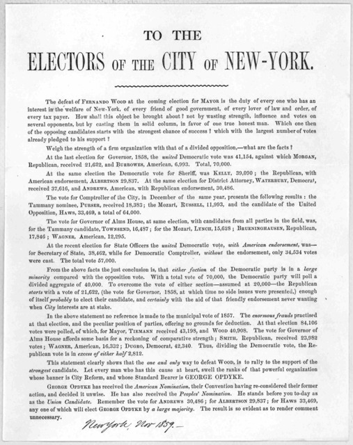 To the electors of the city of New-York. The defeat of Fernando Wood at the coming election for mayor is the duty of every one who has an interest in the welfare of New-York ... [New York, Nov. 1859].