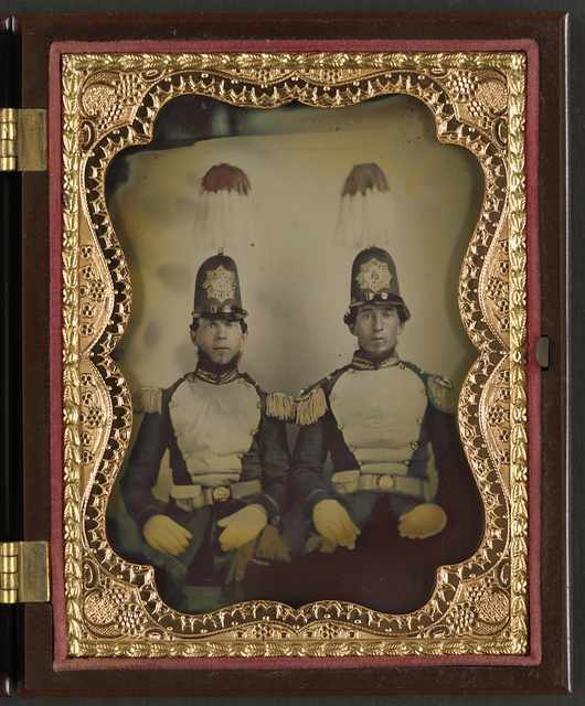 [Two unidentified soldiers of the Richmond Light Infantry Blues, later assigned to Co. A, 46th Virginia Infantry Regiment, in uniform]