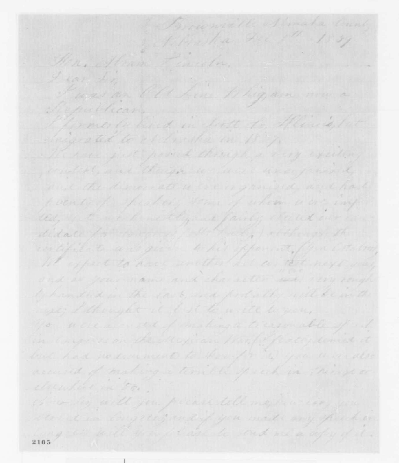 W. A. Polock to Abraham Lincoln, Monday, December 05, 1859