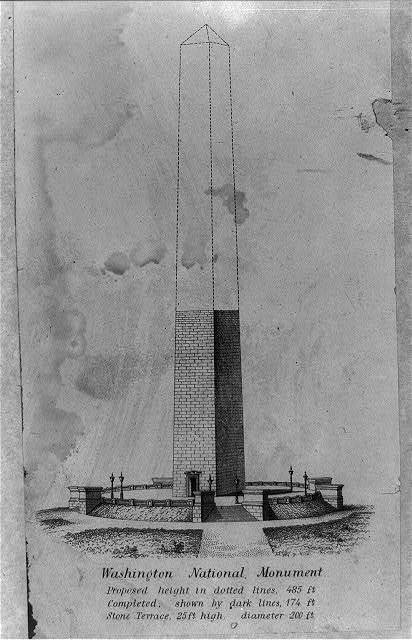 Washington National Monument proposed height in dotted lines, 485 ft. Completed, shown by dark lines, 174 ft. Stone terrace, 25 ft. high, diameter 200 ft.