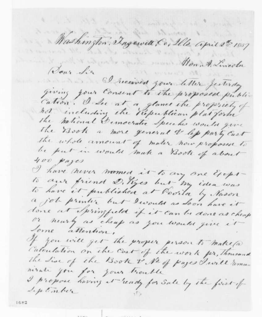 William A. Ross to Abraham Lincoln, Saturday, April 02, 1859  (Publication of debates)