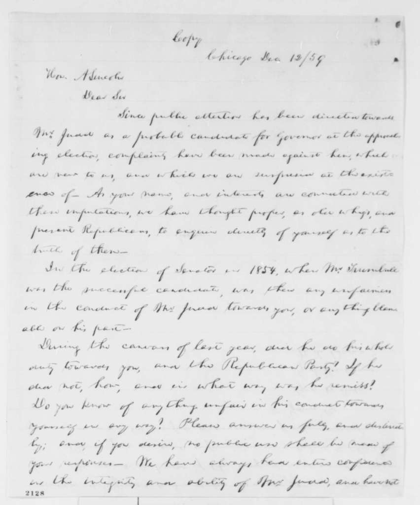 William H. Brown, Gurdon S. Hubbard, and George W. Dole to Abraham Lincoln, Monday, December 12, 1859  (Testimonial for Judd; copy in Abraham Lincoln's hand)