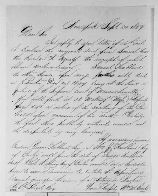 William M. Evarts to Richard Lloyd, Tuesday, September 20, 1859  (Legal matters)