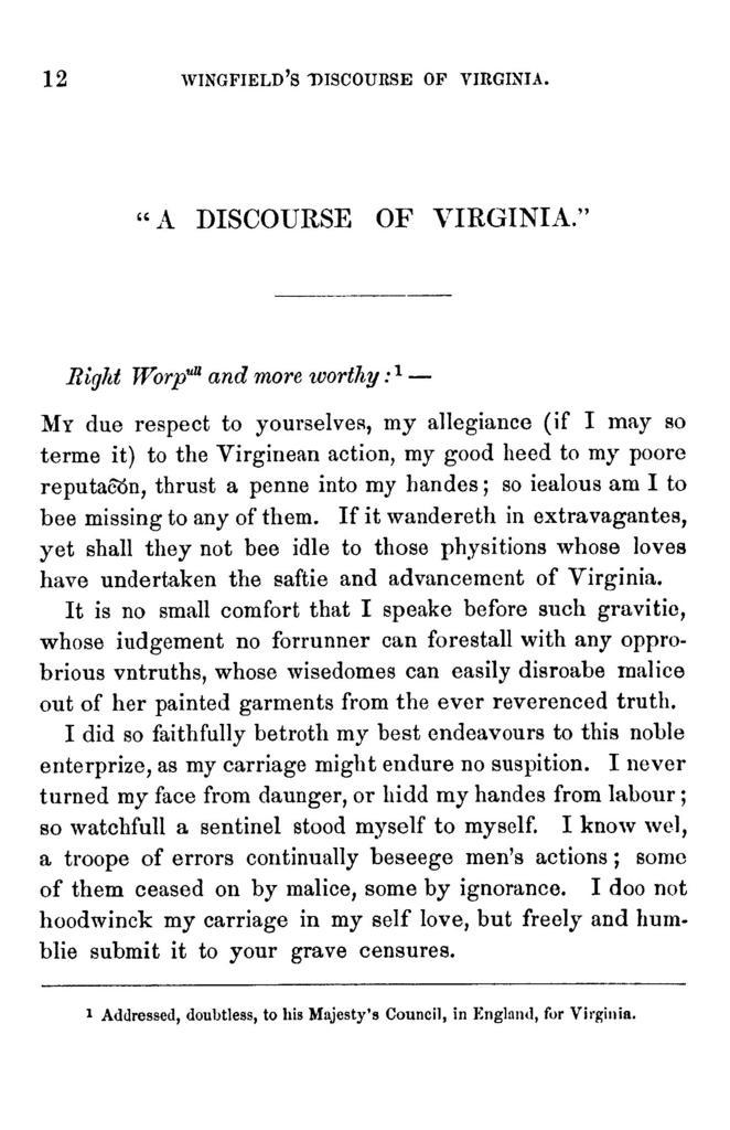 """""""A discourse of Virginia."""""""