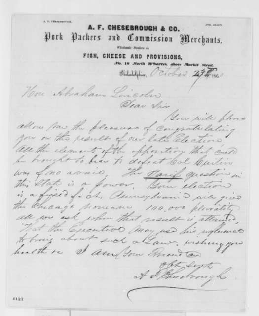 A. F. Chesebrough to Abraham Lincoln, Tuesday, October 23, 1860  (Support)