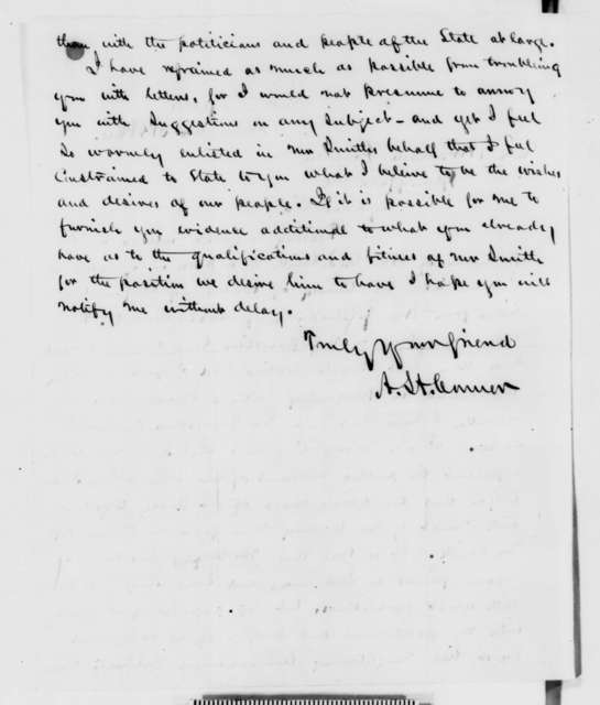 A. H. Conner to Abraham Lincoln, Monday, December 31, 1860  (Forwards recommendation for Caleb Smith)