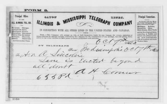 A. H. Conner to Abraham Lincoln, Tuesday, October 09, 1860  (Telegram reporting election results in Indiana)