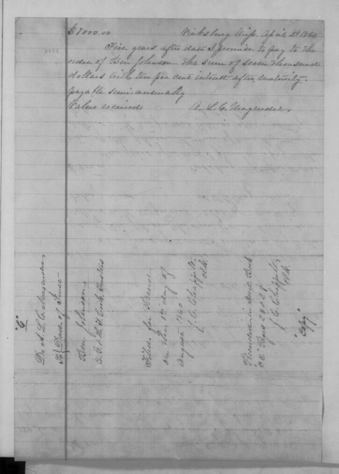 A. L. C. Magruder and Maria Louisa Magruder, Wednesday, August 29, 1860  (Extract of deed)