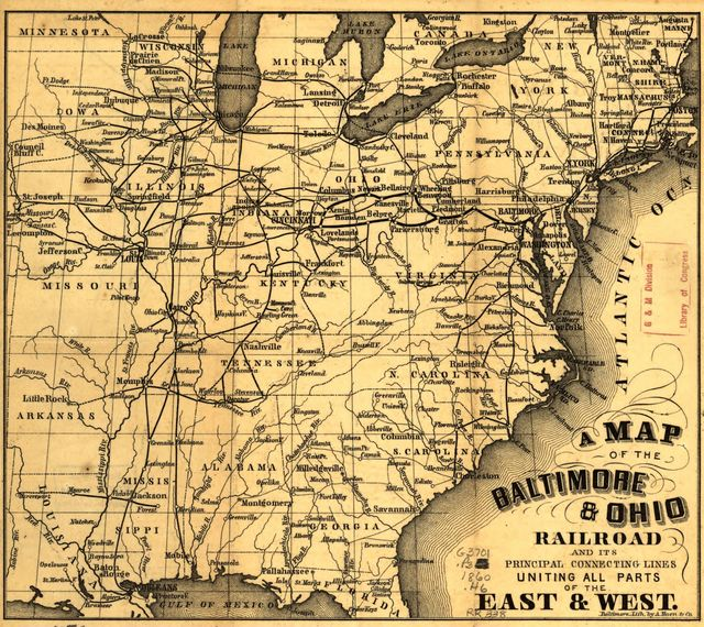 A map of the Baltimore & Ohio Railroad and its principal connecting lines uniting all parts of the East & West.