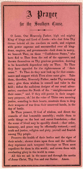 A prayer for the southern cause. [n. p. 186-].