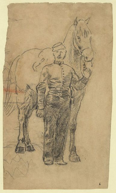 [A soldier leading a horse]