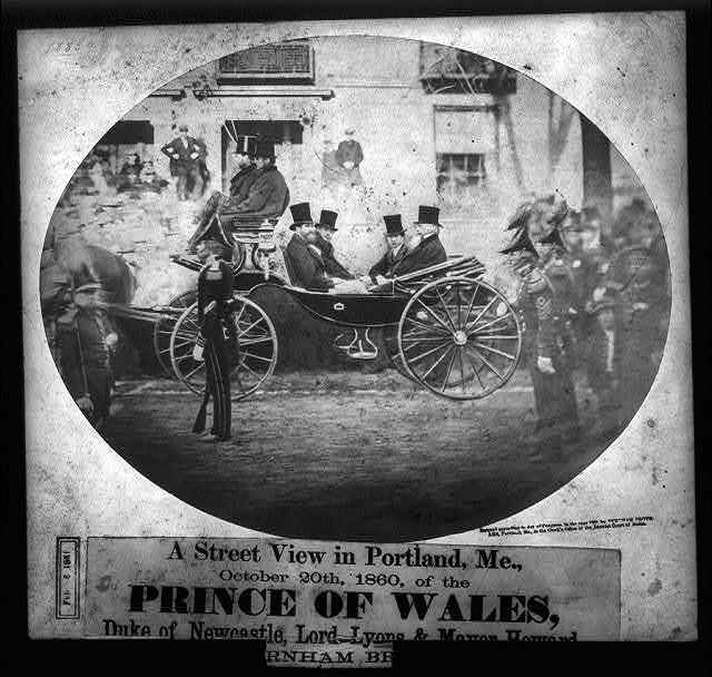 A street view in Portland, Me., October 20th, 1860, of the Prince of Wales, Duke of Newcastle, Lord Lyons & Mayor Howard
