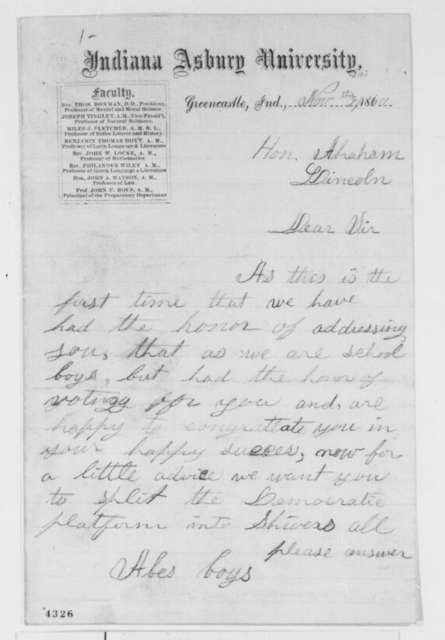 Abes Boys to Abraham Lincoln, Friday, November 09, 1860  (Congratulations from school boys)