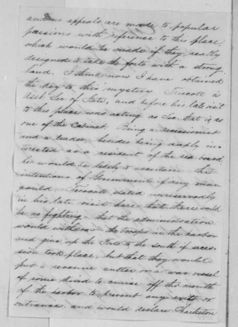 Abner Doubleday to Ulysses Doubleday, Sunday, September 23, 1860  (Situation at Ft. Moultrie, South Carolina)