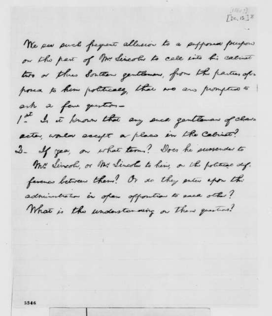 Abraham Lincoln, [December 12, 1860]  (Editorial in Illinois State Journal on appointing Southerners to cabinet)