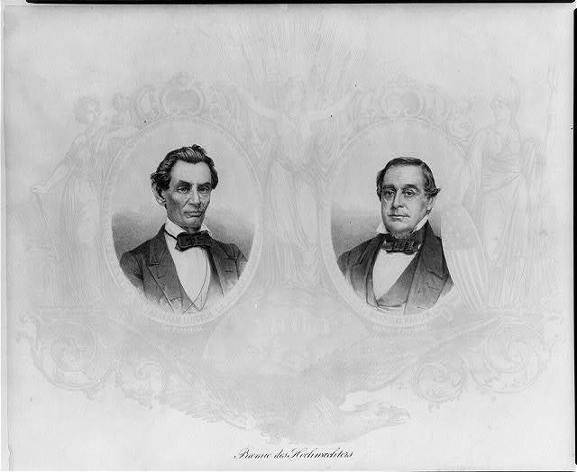 [Abraham Lincoln, oval, unbearded, facing slightly right, with oval bust of Hannibal Hamlin, facing slightly left]
